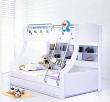 Celeste Bunk Bed with Trundle Under - White floor stock left