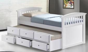 New Jersey trundle Bed with 3 drawer under - Single