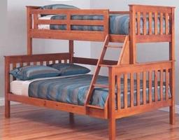 Fort Trio Double Bunk Bed - (Teak or White)