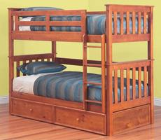 Fort Trio Bunk with Trundle - Single (Teak)