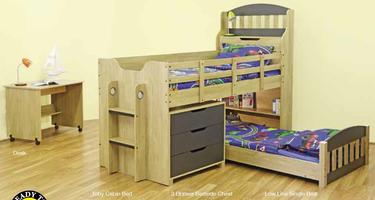 Toby Bunk Bed (Single top & Bottom + Chest of Drawer)