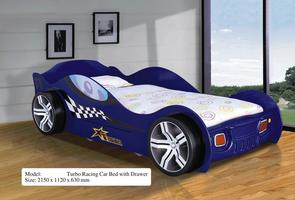 Turbo Racing Car Bed + Drawer (Blue)