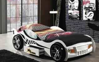 Turbo Racing Car Bed + Drawer (White)