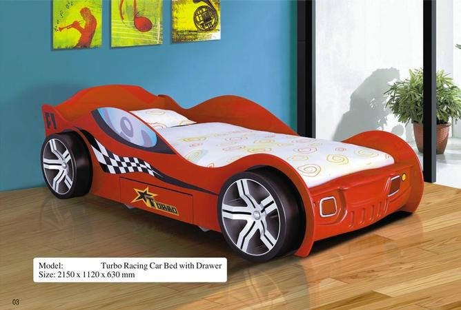 Turbo Racing Car Bed + Drawer (Red)