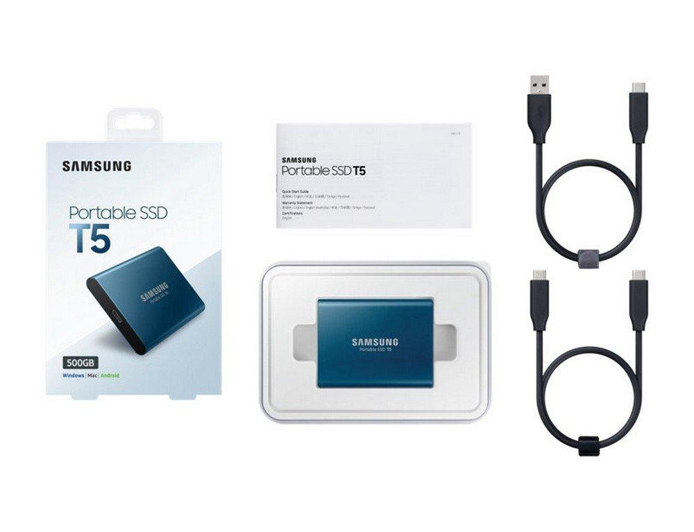 Samsung Portable Solid State Drive T5, Blue, MU-PA500B/WW