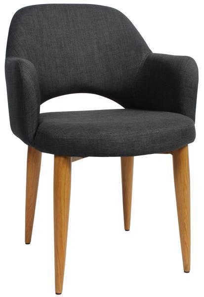 Albury arm chair steel light oak/ fabric