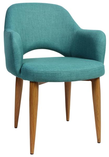 Albury arm chair steel light oak/ fabric