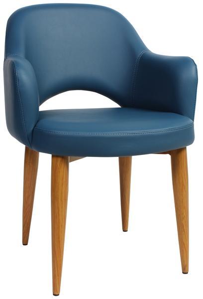 Albury arm chair steel light oak/ vinyl