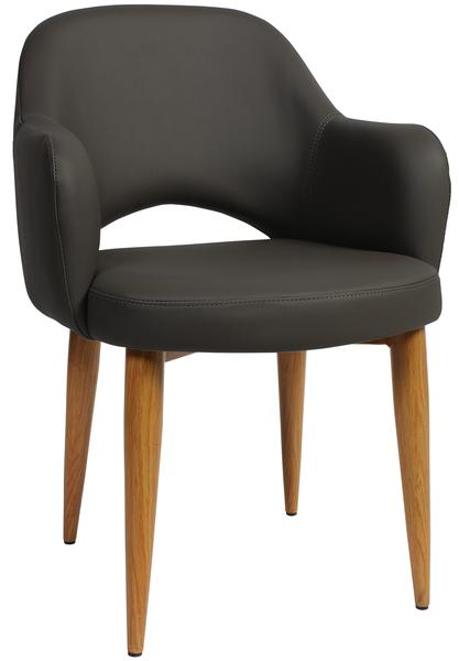 Albury arm chair steel light oak/ vinyl