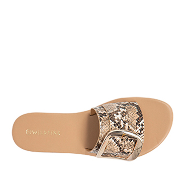 Details about NEW Spendless Womens Athens Wildfire Casual Flat Sandal Slide Buckle Trim