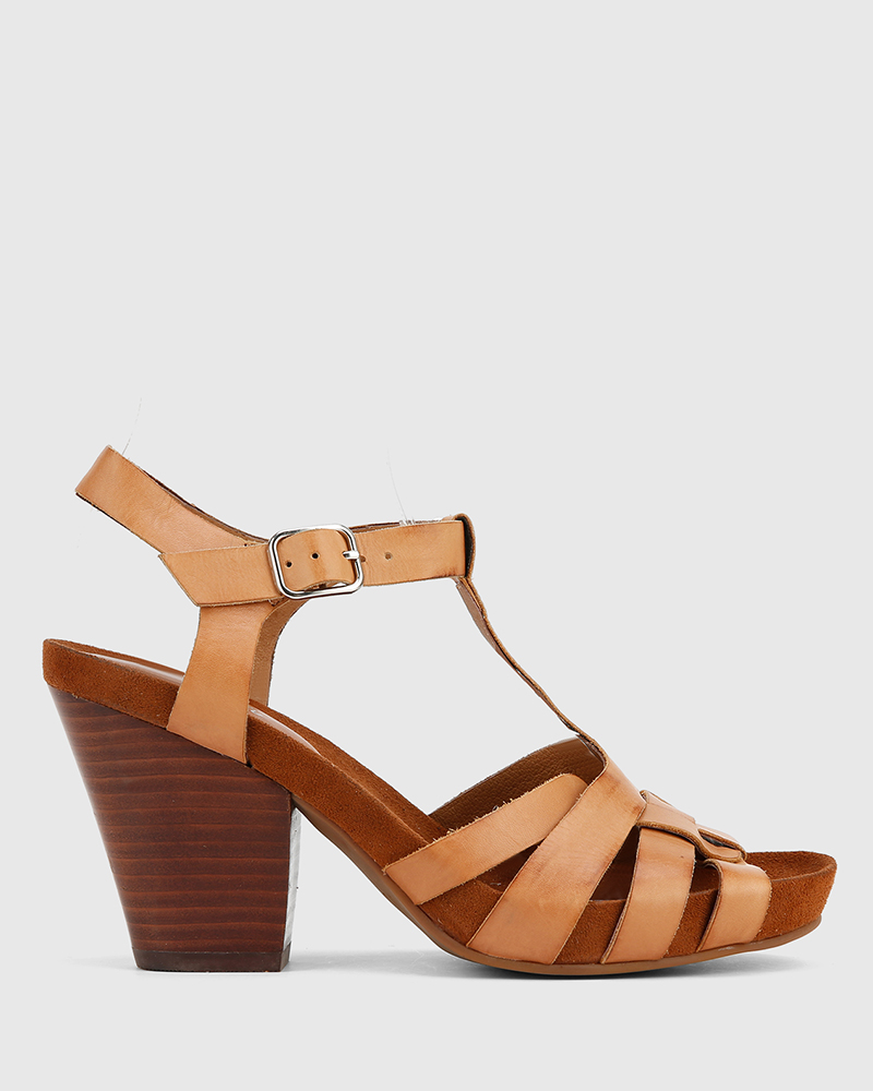 Details about Carlino Tan Leather Block Heeled Sandal