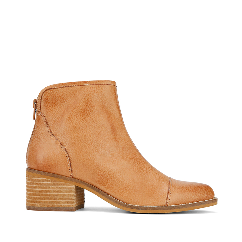 Fly London NEW Crip camel tan genuine leather mid block heel ankle boots 3-9