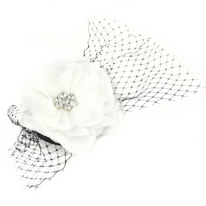 Catwalk Hair Accessories White Flower Fascinator