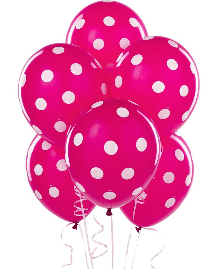 Bright Pink Balloons with White Dots Pack of 6