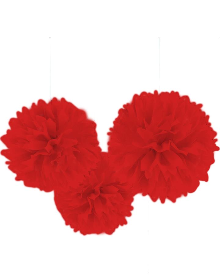 Fluffy Hanging Decorations Red