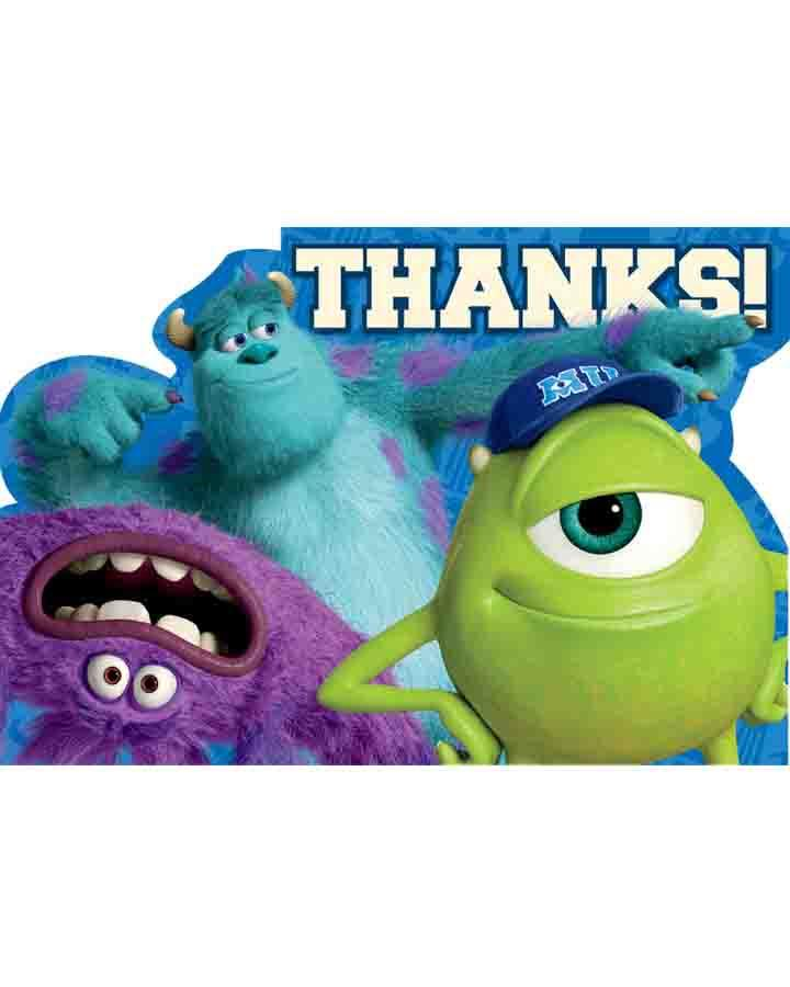 Monsters University Thank You Cards Pack of 8