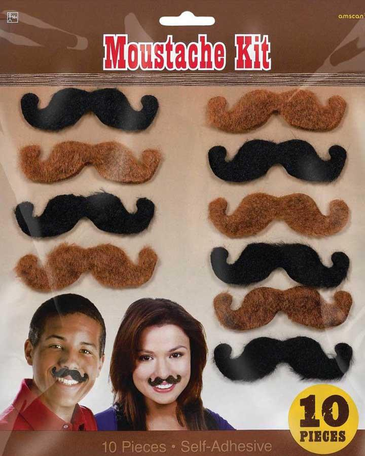 Pack of 10 Western Party Moustaches