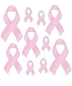 10 Pack Pink Ribbon Foil Cutouts