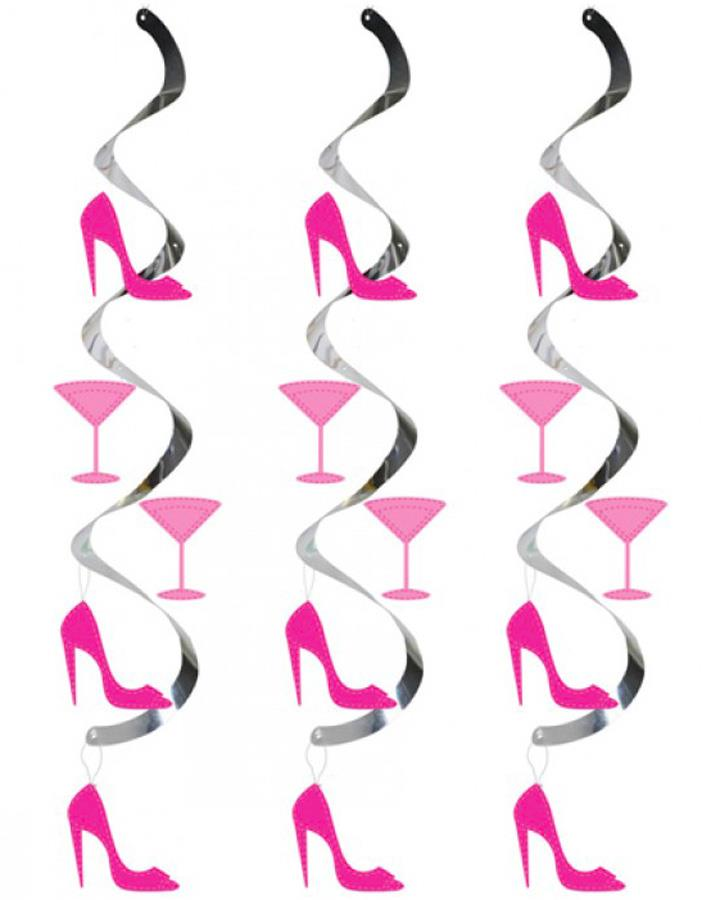 5 Pack Dizzy Dangler Martini and Heels Decorations