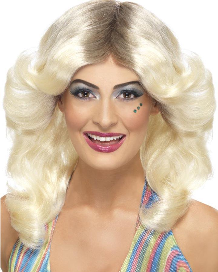 70s Flicked Blonde Wig with Roots