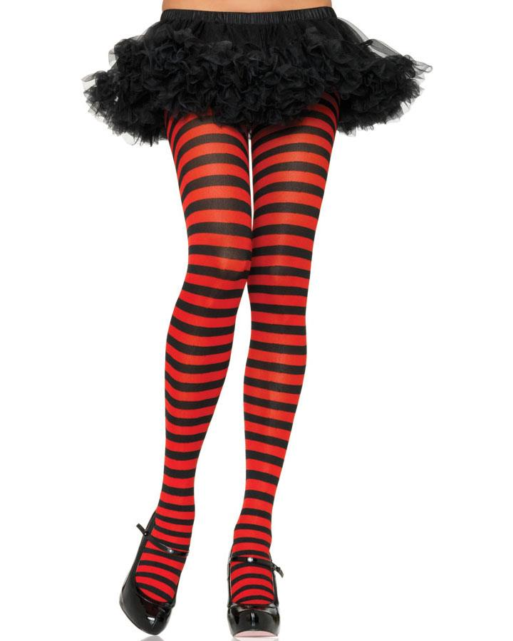 Black and Red Striped Tights