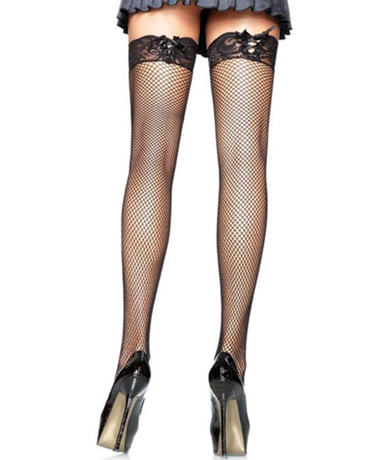 Black Fishnet Thigh Highs with Corset Lace Top