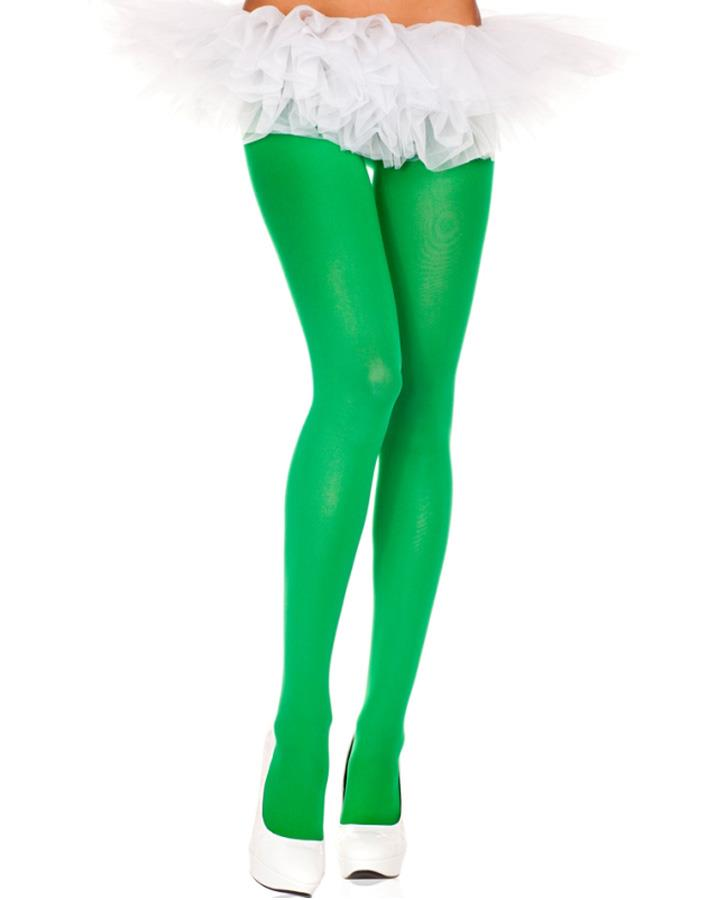 Green Opaque Plus Size Tights