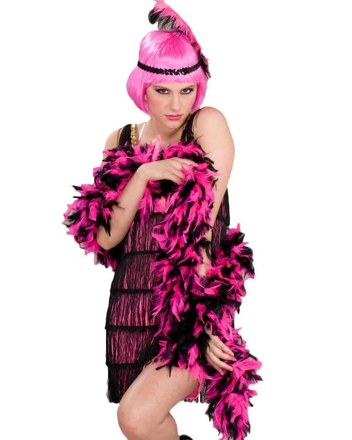 Hot Pink and Black Feather Boa