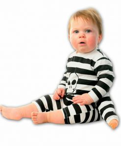 3 Armed Black and White Striped Baby Halloween Romper