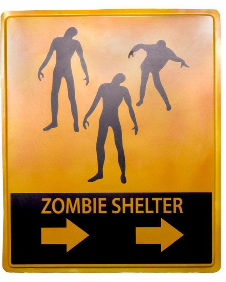 Zombie Shelter Halloween Sign