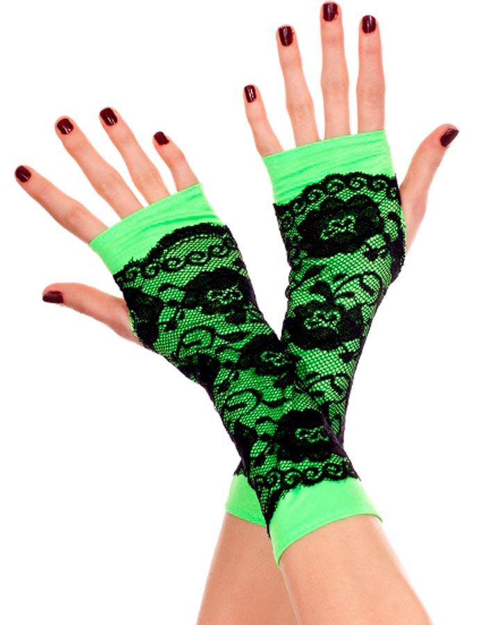 Neon Green Lace Overlay Arm Warmers