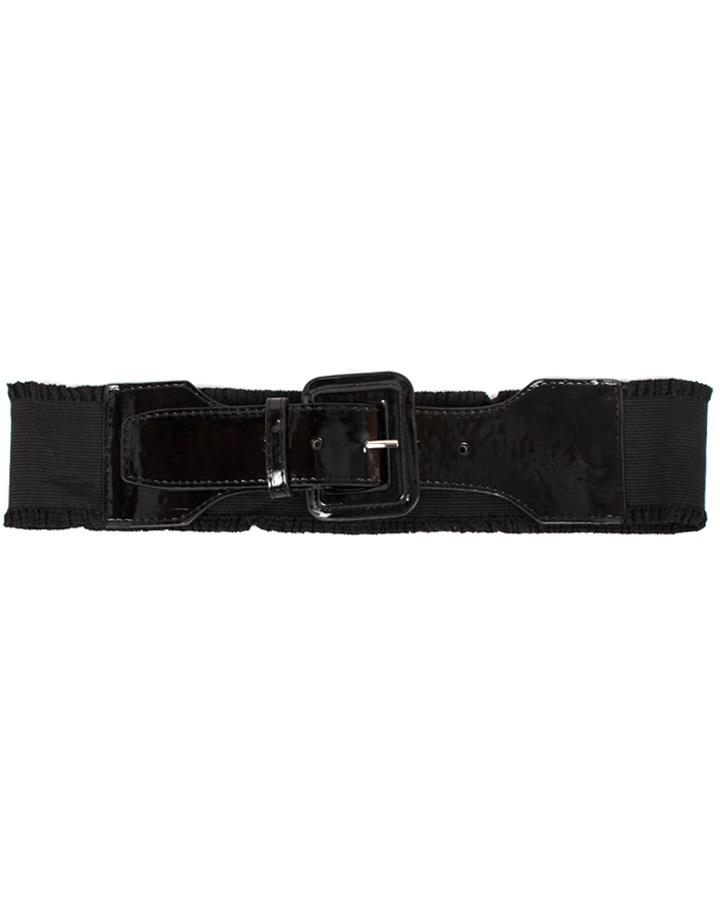 80s Black Wide Stretch Waist Belt