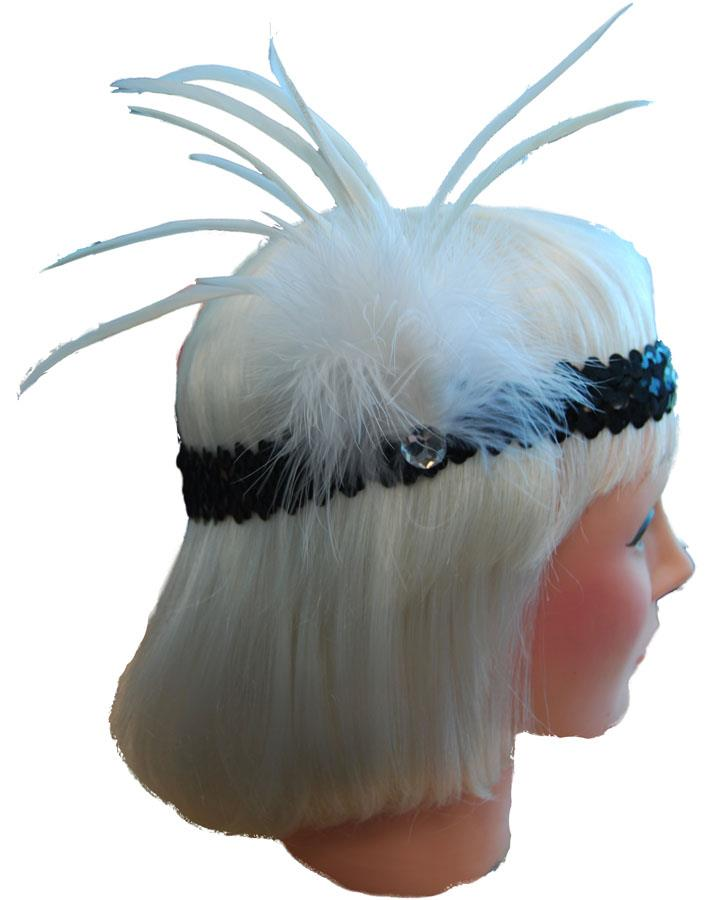 White and Black 20s Headband with Feather