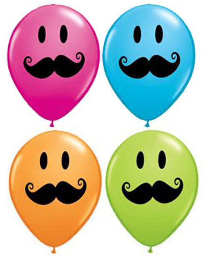 Smile Face Moustache Balloons Pack of 25