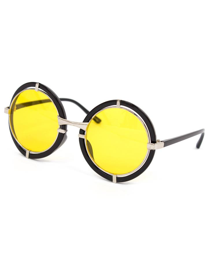 Yellow Round Funky Steampunk Sunglasses