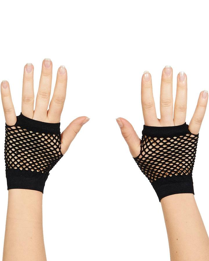 80s Black Short Fishnet Gloves