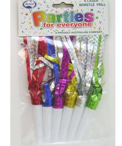 6 Pack Whistle Frills Assorted Colours