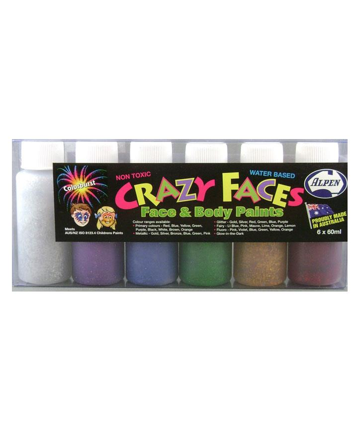 6 Pack Glitter Assorted Colours Face and Body Paint