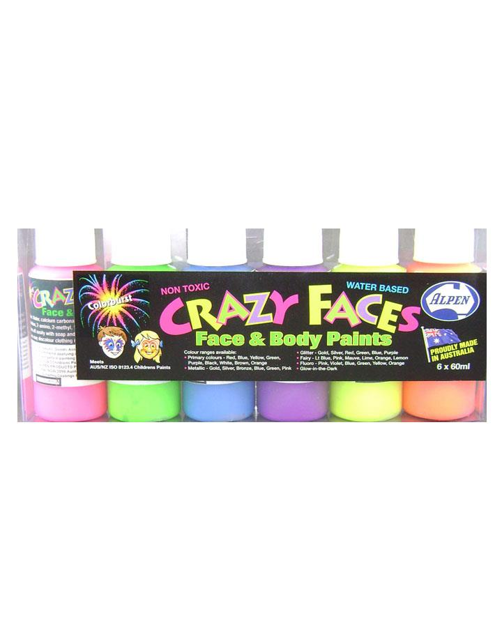 6 Pack Face and Body Fluro Paint Assorted Colours
