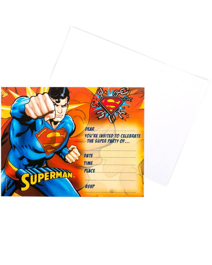 Superman Party Invitations Pack of 8