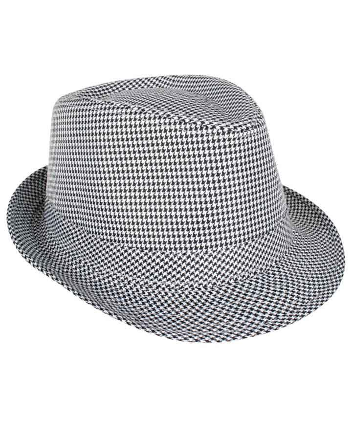 Black and White Checkered Trilby Hat