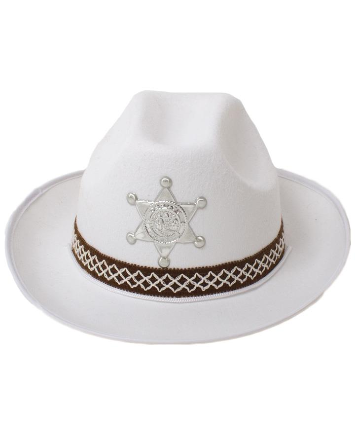 White Cowboy Hat with Woven Band and Badge