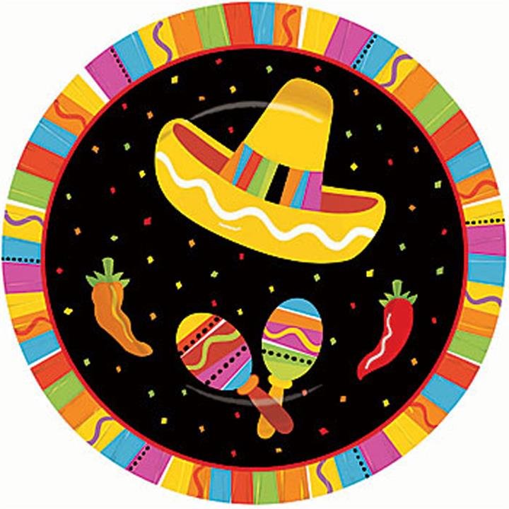 Mexican Fiesta Fun 27cm Party Plates Pack of 8