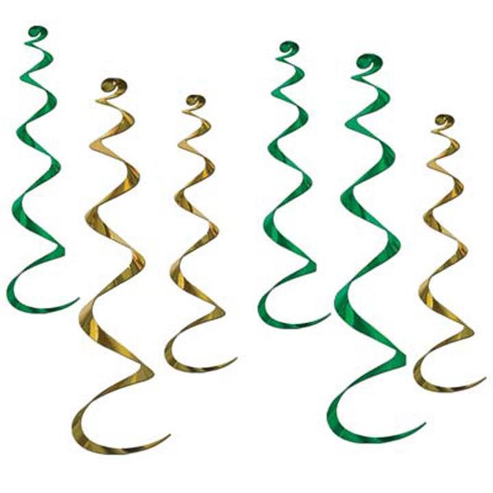 Twirly Whirly Green and Gold Hanging Props