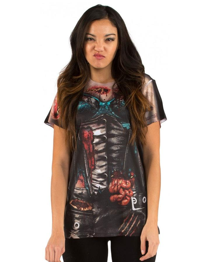 Zombie Corset Faux Real Womens T Shirt