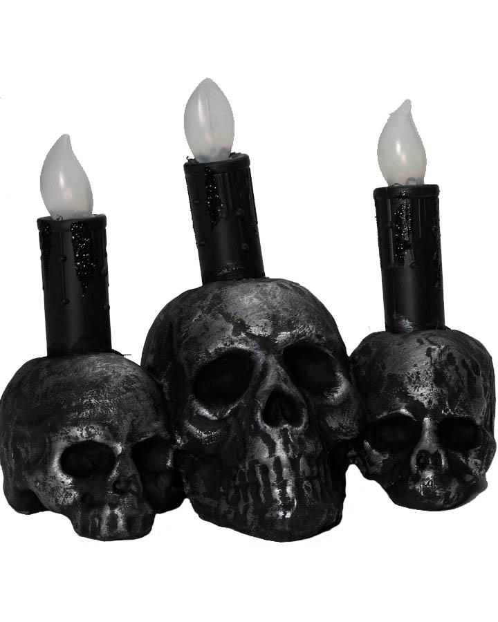 3 Skull Candle Holder Black