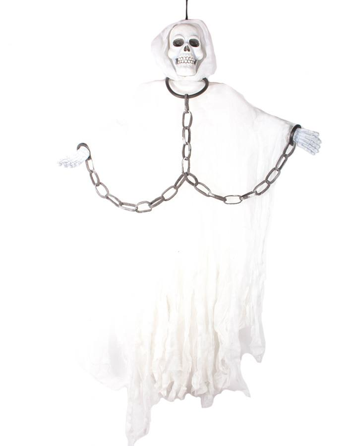 60 Inch White Hanging Skeleton Figure with Chains