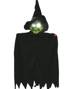 24 Inch Hanging Decoration with Strobe Eyes Witch