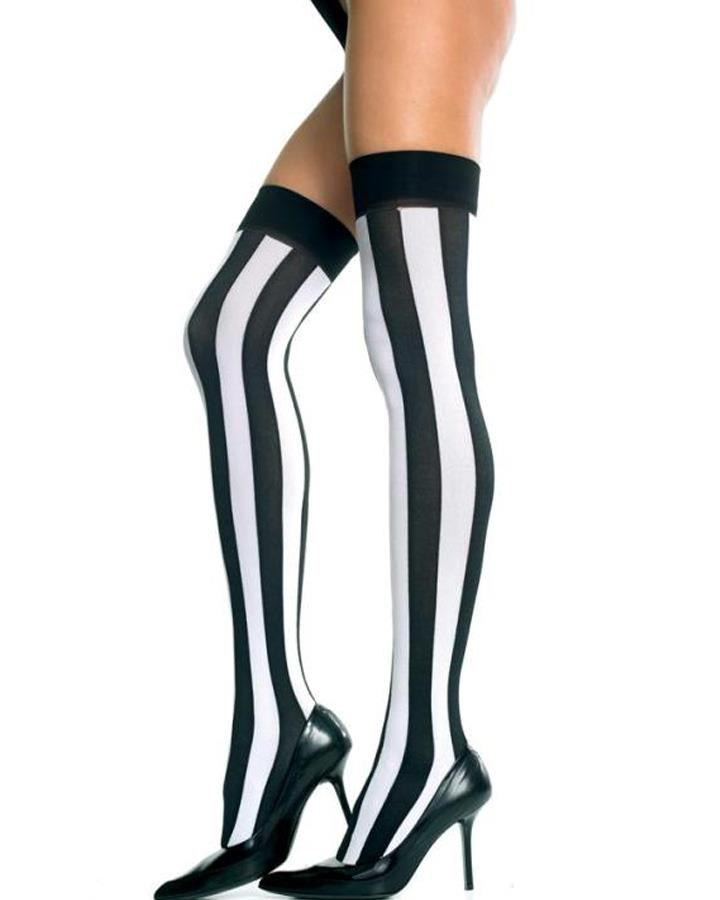 Black and White Opaque Vertical Stripe Thigh Highs