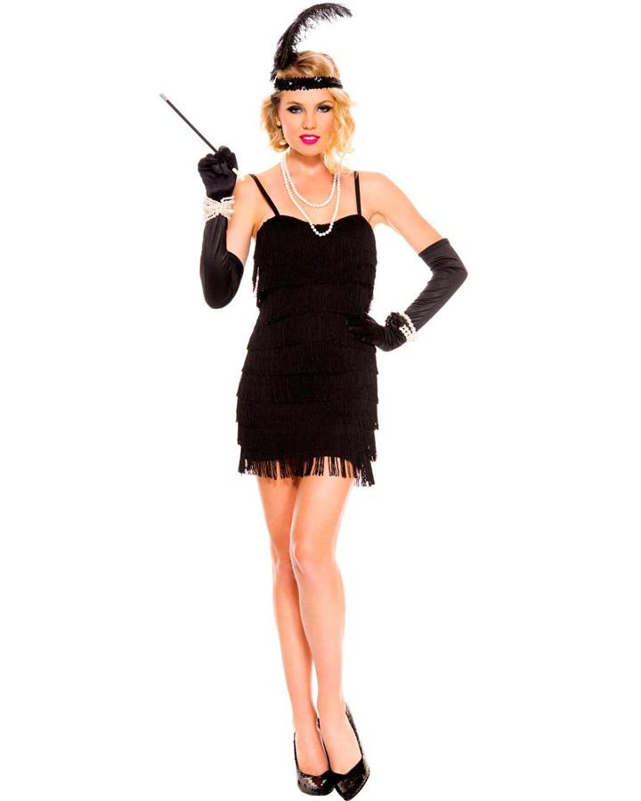 1920s Black Flaming Flapper Womens Costume